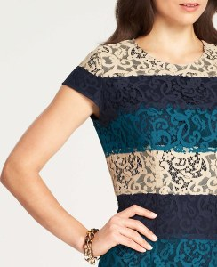 A current version of my mantle [Ann Taylor striped lace dress Fall 2013]