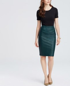 teal leather skirt